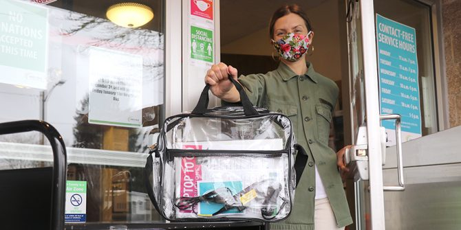 Librarian delivers a Laptop To Go bag